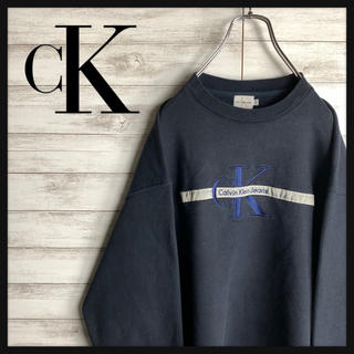 Calvin Klein - 【定番】カルバンクライン☆ビッグ刺繍ロゴ入りスウェット 人気デザイン 古着女子