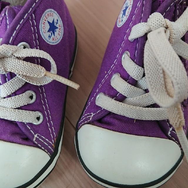 CONVERSE(コンバース)のCONVERSE コンバース むらさき 12㎝ キッズ/ベビー/マタニティのベビー靴/シューズ(~14cm)(スニーカー)の商品写真
