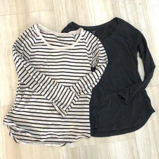 GAP - 長袖Tシャツ カットソー ボーダー&黒2枚セット GAP