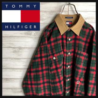 TOMMY HILFIGER - 【超希少】90sトミーヒルフィガー☆ワンポイントロゴ入り襟付きコーデュロイシャツ