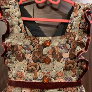 Shirley Temple - シャーリーテンプル クマ ゴブラン ワンピース 120
