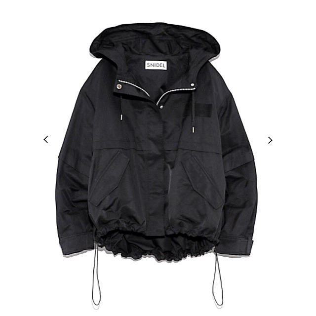 snidel(スナイデル)の新品 タグ付き スナイデル ワイドショートモッズブルゾン ベージュ ブラック 黒 レディースのジャケット/アウター(ブルゾン)の商品写真