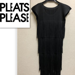 PLEATS PLEASE ISSEY MIYAKE - PLEATS PLEASE ワンピース 黒 フリンジ