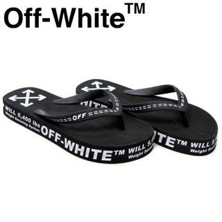 OFF-WHITE - 4 OFF-WHITE 20ss ブラック ロゴ フラットソール サンダル42