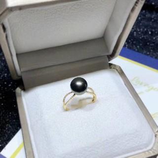 【高級】天然タヒチ黒蝶真珠 リング10-11mm(リング(指輪))