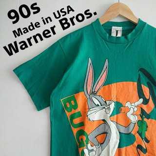 636 90s ワーナーブラザーズ USA製 デカプリント Tシャツ 良デザイン(Tシャツ/カットソー(半袖/袖なし))