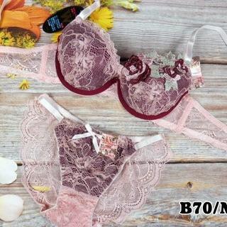SE31★B70 M★美胸ブラ レースバックショーツ 谷間メイク ピンク(ブラ&ショーツセット)