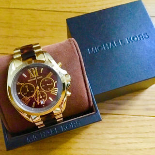 Michael Kors - 【美品‼︎】マイケルコース クロノグラフ腕時計 べっ甲ゴールド ホワイトデー🎀
