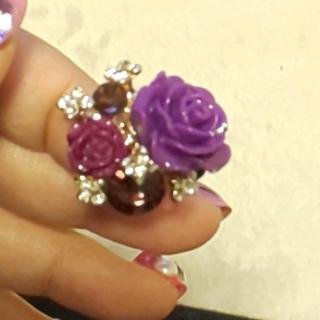 パープル 薔薇 リング 指輪 ゴシック ゴスロリ スワロフスキー(リング(指輪))