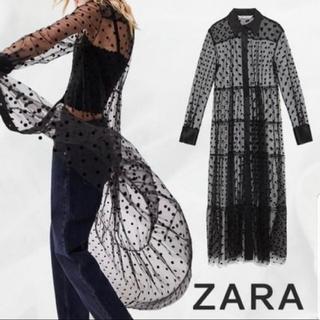 ZARA - ZARA ドット柄 チュール ワンピ シフォン メッシュ シャツ ドレス 黒