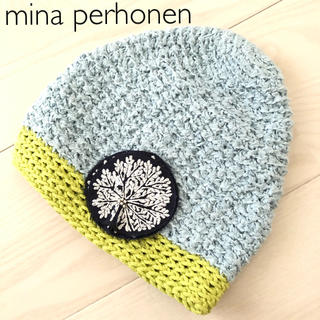 mina perhonen - *美品*ミナペルホネン ヒトミシノヤマ forest dot ニット帽