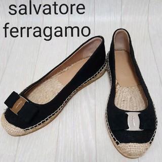 Salvatore Ferragamo - 未使用 ☆ フェラガモ エスパドリーユ フラットシューズ ブラック ☆ 6M