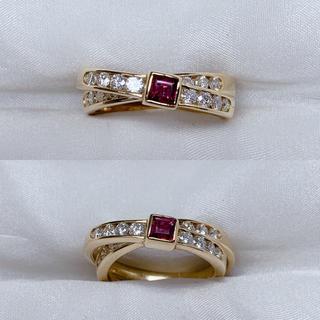 タサキ(TASAKI)の●TASAKI k18 ルビー ダイヤモンド ダブルリング(リング(指輪))