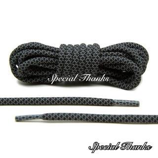 リフレクティブ/シューレース(靴紐)/ロープレース(丸紐)/ブラック/120cm(スニーカー)