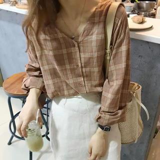 ブラウン 茶 チェックシャツ(シャツ/ブラウス(長袖/七分))