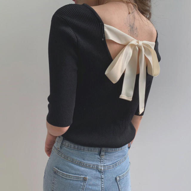 𓂃 韓国 ♡ back ribbon knit tops 𓂃 レディースのトップス(ニット/セーター)の商品写真