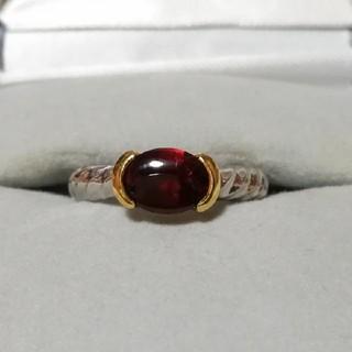 リング 指輪 ガーネット 誕生石 K18 pt900 プラチナ ゴールド レッド(リング(指輪))