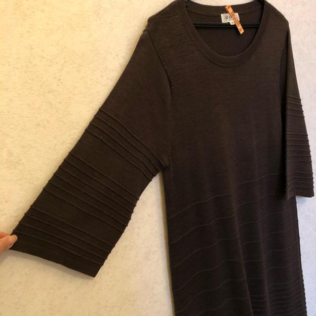 自由区(ジユウク)の自由区 七分ワイド袖がおしゃれな 楽ちん ワンピース レディースのワンピース(ひざ丈ワンピース)の商品写真