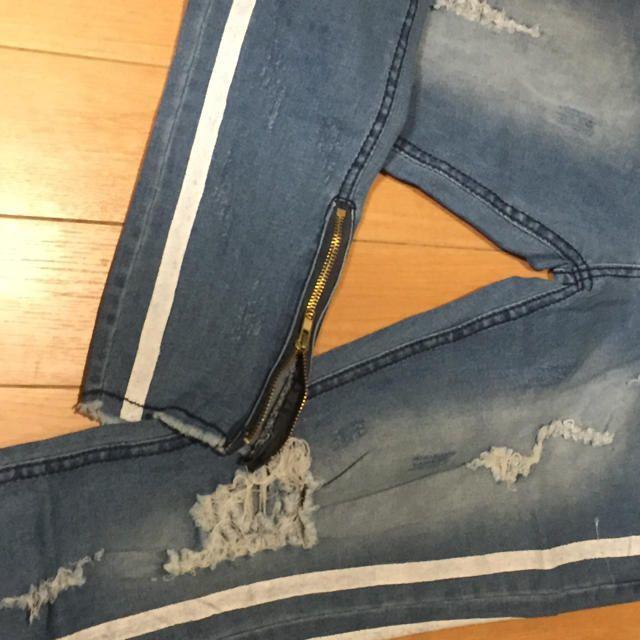 サイズが選べる ダメージデニム クラッシュデニム ネイビー ブルー 青 紺 メンズのパンツ(デニム/ジーンズ)の商品写真