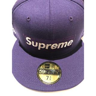 Supreme - supreme newera パープル purple 7-3/8ニューエラ