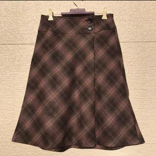 ニジュウサンク(23区)の美品 23区 スカート ダークブラウン ピンク 36(ひざ丈スカート)
