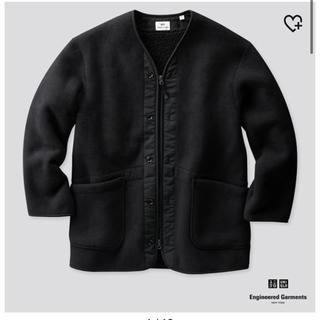 UNIQLO - ユニクロ フリースノーカラーコート(ブラックSサイズ)