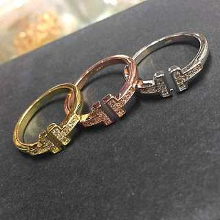 Tiffany & Co. - 【18K金コーティング】18K金コーティング T字リング ワイヤレイス 指輪3色
