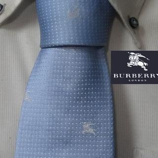 BURBERRY - 美品★バーバリーロンドン【ホースロゴ&ピンドット柄】高級ネクタイ★ブルー