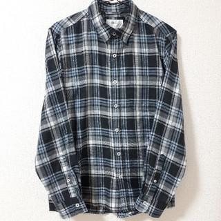 【メンズ ikka イッカ】グレー×ブルー系 チェック柄シャツ Mサイズ