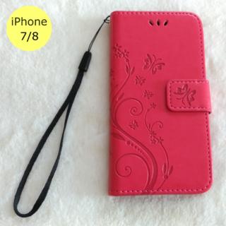 かわいい 蝶 手帳型 iPhone7/8 iPhoneケース ローズレッド