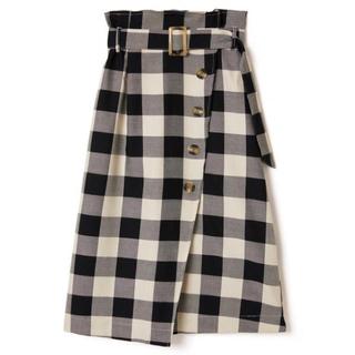 GRL - GRL ベルト付きブロックチェックフロントボタンスカート ブラック 黒 美品