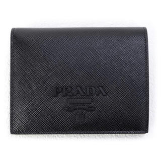 PRADA - プラダ PRADA 財布 SAFFIANO SHINE 折財布 カーフ ブラック