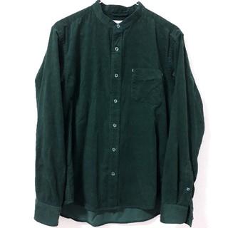 【メンズ ikka イッカ】コーデュロイシャツ グリーン Mサイズ