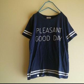 サマンサモスモス(SM2)のSM2 ビンテージ加工 英字ロゴ ライン Tシャツ(Tシャツ/カットソー(半袖/袖なし))