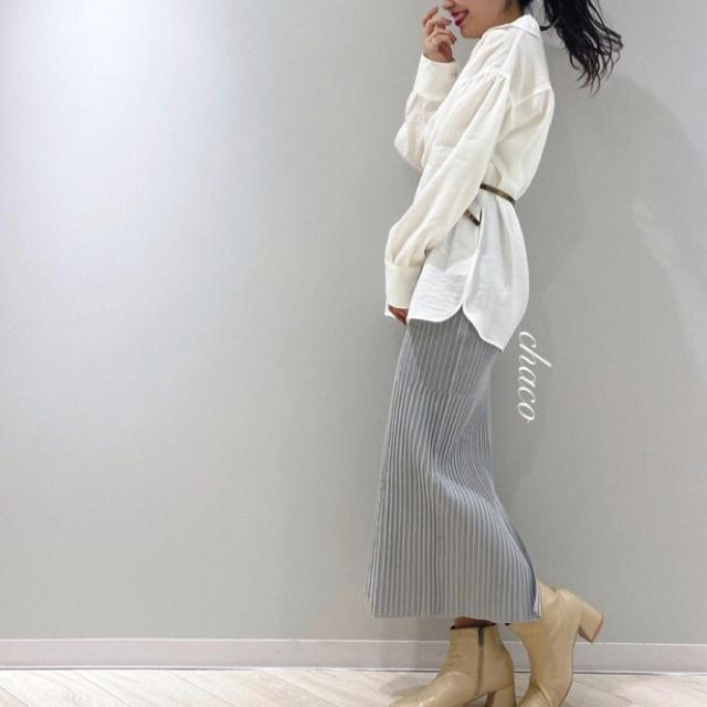 mystic(ミスティック)の春新作🍋¥6490【mystic】ランダムリブニットスカート LG レディースのスカート(ロングスカート)の商品写真