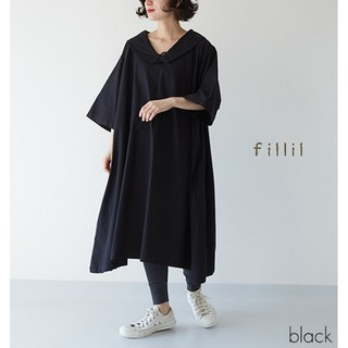 merlot - 春の新作*フィリル ビッグ衿ラグランワンピース 黒