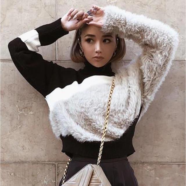 eimy istoire(エイミーイストワール)の♡ eimy istoire スラッシュミックスニット  ¨̮ ♡ レディースのトップス(ニット/セーター)の商品写真