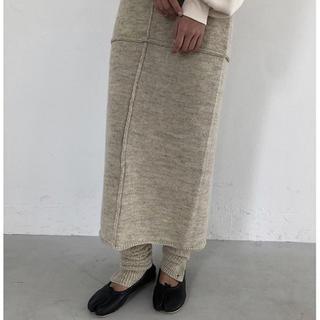 TODAYFUL - 未使用  TODAYFUL  杢調  ナチュラルカラー スリットニットスカート