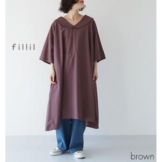 merlot - 春の新作*フィリル ビッグ衿ラグランワンピース ブラウン