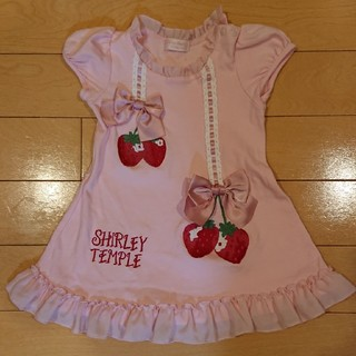 Shirley Temple - 美品 シャーリーテンプル いちご カットソーワンピ 90