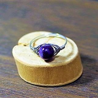 【HO-40】ブラジル産 シェブロンアメジスト ワイヤーリング オーダーメイド(リング(指輪))