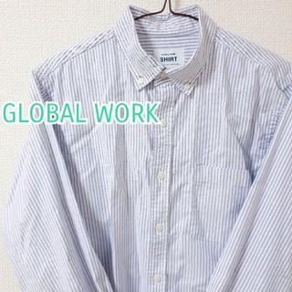 GLOBAL WORK - 【メンズ GLOBAL WORK】薄紫 ストライプ柄シャツ S パープル 春