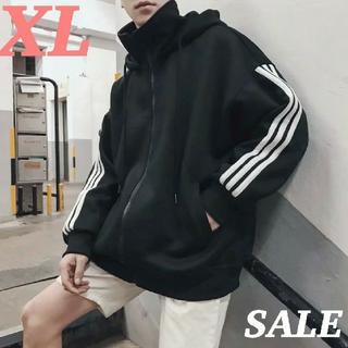 3ライン ジップ パーカー 大人気 ブラック XL 裏起毛 SALE 韓国(パーカー)