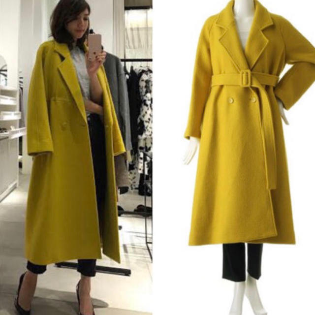 LE CIEL BLEU(ルシェルブルー)のルシェルブルー イエロー コート ロングコート 正規品 レディースのジャケット/アウター(ロングコート)の商品写真