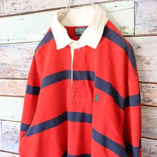 ポロラルフローレン(POLO RALPH LAUREN)のラルフローレン ポロシャツ ラガーシャツ 起毛 赤黒ボーダー XL(その他)