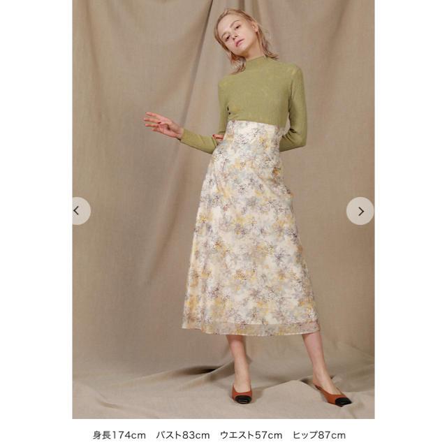 Lily Brown(リリーブラウン)の新品 タグ付き リリーブラウン ぼかし花柄刺繍スカート オフホワイト レディースのスカート(ロングスカート)の商品写真