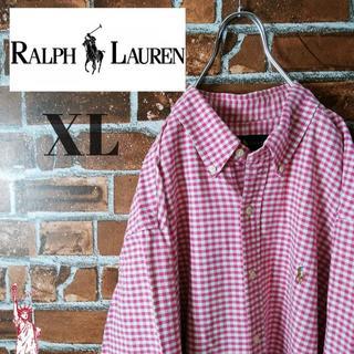 Ralph Lauren - 【ギンガムチェック】【かわいいピンク】ラルフローレン☆BDシャツ 長袖