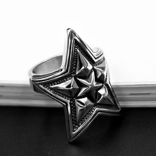 (362) 高級 チタンステンレス 黒墨コーティング スターリング(リング(指輪))