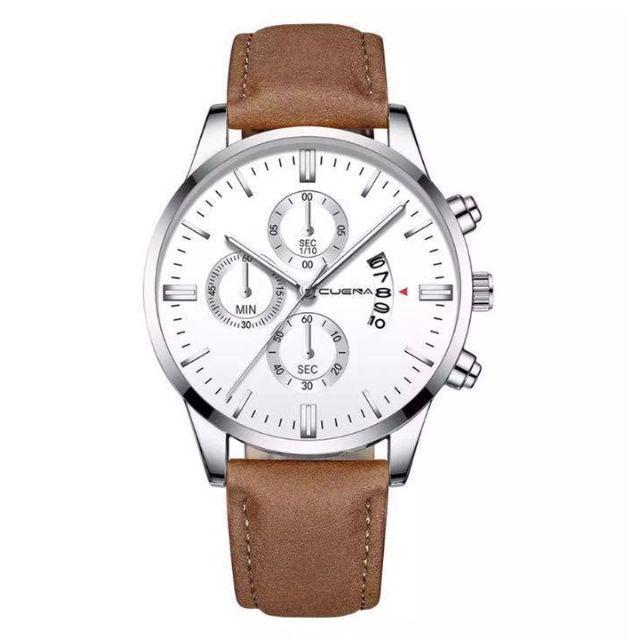 [新品] メンズ インポートウォッチクォーツ腕時計ブラウンシルバー 茶銀の通販