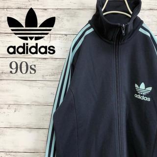adidas - 【良デザイン】90s adidas  トレフォイル ロゴ トラックジャケット L